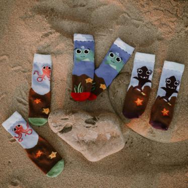 Sock on beach sand